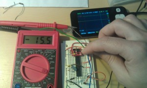 test setup for Arduino's ATMega328 Power Consumption measurement