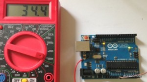 Arduino Uno running sleep code. Led is now on